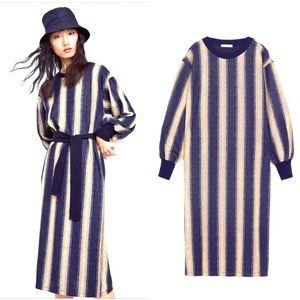 NWT ZARA STRIPED CREAM NAVY SWEATER DRESS
